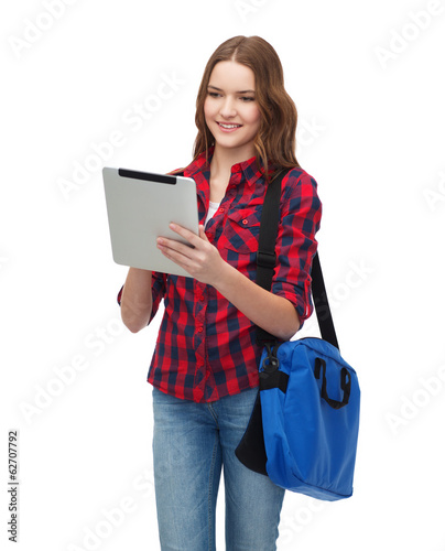 smiling student with tablet pc and bag
