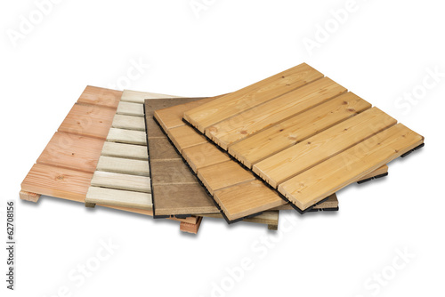 Wooden garden tiles isolated with clipping path