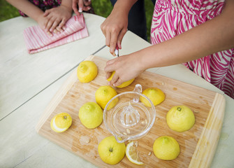 A Summer Family Gathering At A Farm. A Tabletop Chopping Board. A Child Cutting Up Lemons And Juicing Them For Lemonade.