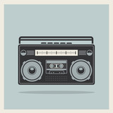 Classic 80s boombox on Retro Background Vector poster