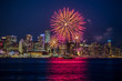 Celebration of Canada Day on July 1st with a colorful fireworks display in Vancouver, British Columbia, Canada.