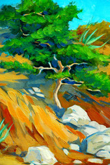 mediterranean landscape with a pine, painting, illustration