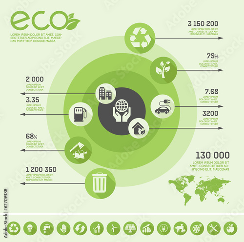 Flat Ecology Infographic Elements. Vector Illustration EPS 10.