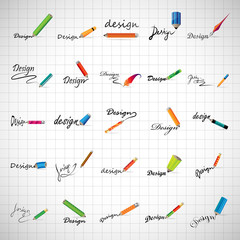 Pencil Icons Set - Isolated On Gray Background