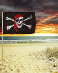 Pirate flag on beach