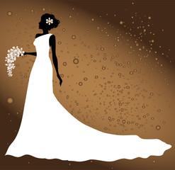 silhouette di sposa su sfondo astratto
