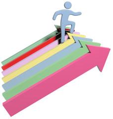 Person climbs up success progress arrows