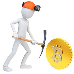 3d man miner mining golden Bitcoin