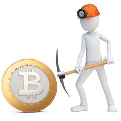 3d man miner mining golden Bitcoin