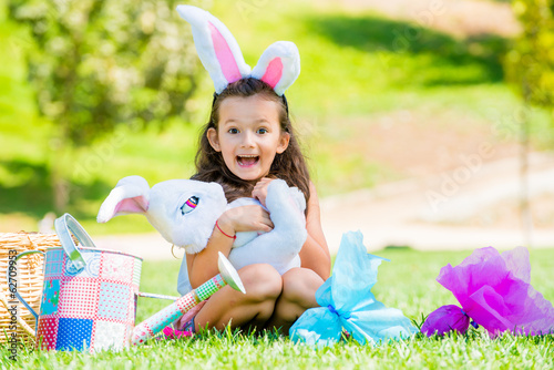 Happy cute girl on Easter