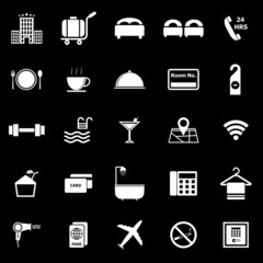 Hotel icons on black background
