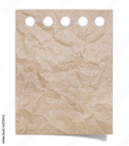 crumpled brown note paper on white background
