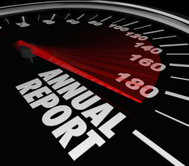 Annual Report Speedometer Increasing Growth Financial Performanc