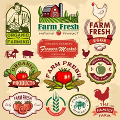Collection of vintage retro farm labels and design elements