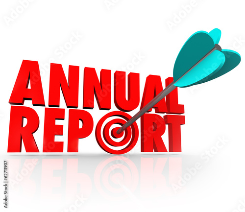 Annual Report Arrow in Word Good Financial Performance