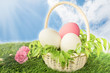 basket of white and pink easter eggs