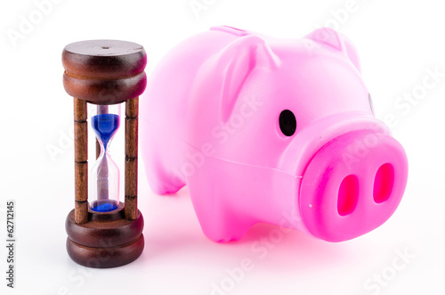 piggy bank sand clock isolated white background