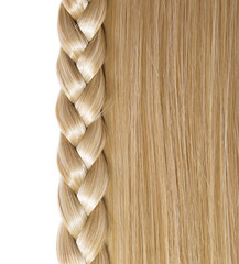 Blonde Straight Hair and Braid or Plait isolated on white