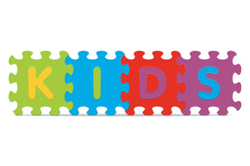 """Vector """"KIDS"""" written with alphabet puzzle"""