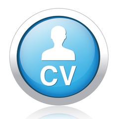 Blue round CV icon button