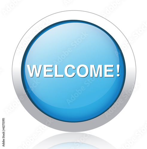 Welcome button blue