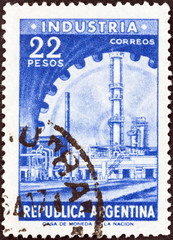 Industry and cogwheel (Argentina 1954)
