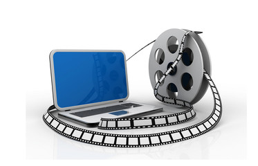 Laptop and films. Multimedia concept.