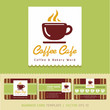 Coffee Cafe icon logo and business cards. Vector illustration.