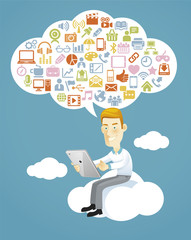Business man using a tablet sitting on a cloud with social media