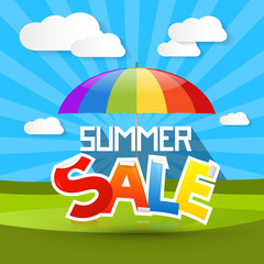 Summer Sale Illustration with Colorful Parasol