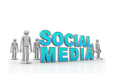 Social media concept  isolated over a white background.