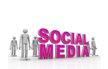 Social media concept  isolated over a white background