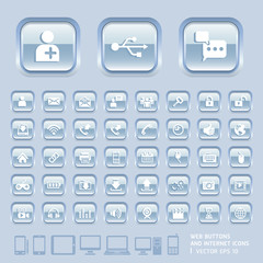 Blue Glass Buttons and Internet Icons for Web, Applications and