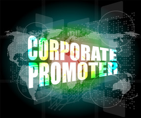 corporate promoter words on digital screen with world map