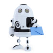 Robot with envelope. Communication technology concept