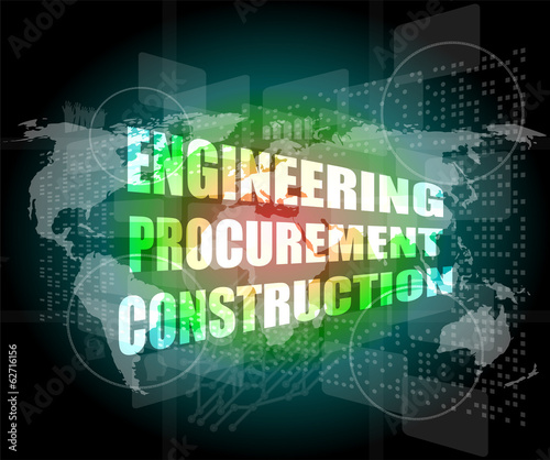 engineering procurement construction word on business screen