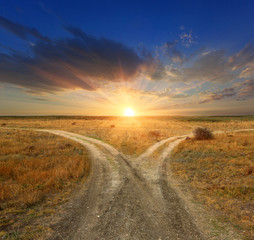Fork roads on sunset background