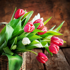 Bouquet of Spring Tulips, square