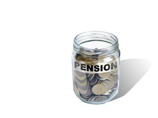 pension  savings money in jar
