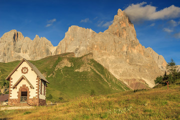 Typical Tirolian chapel in the Dolomites,Cimon Della Pala,Italy