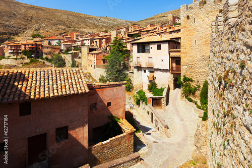 medieval street with old fortress  in Albarracin