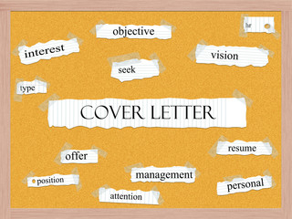 Cover Letter Corkboard Word Concept