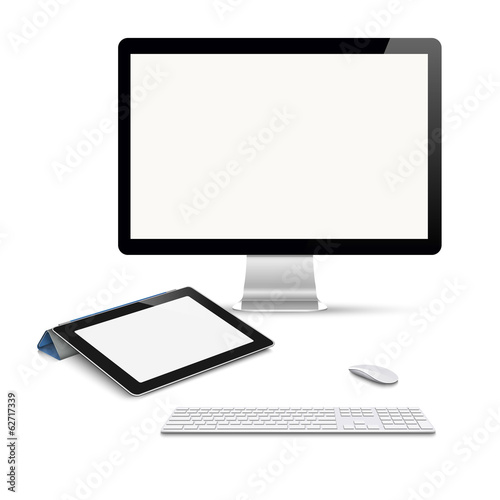 Realistic vector tablet computer, monitor with keyboard and mous