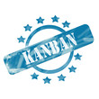 Blue Weathered Kanban Stamp Circle and Stars design