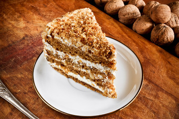 A piece of delicious nut cake