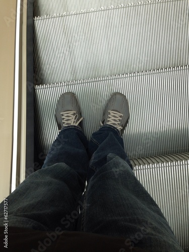 Shoes on the escalator