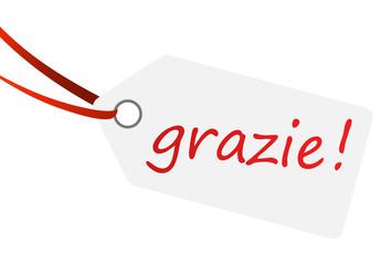 """Anhänger mit Text """" grazie ! """""""