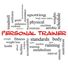 Personal Trainer Word Cloud Concept in red caps