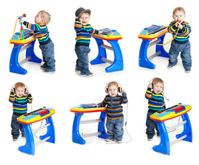 little boy and the keyboard on white background.  funny boy baby
