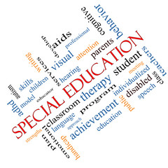 Special Education Word Cloud Concept Angled